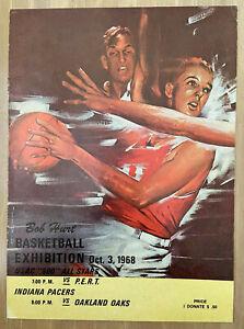VINTAGE 1968 ABA INDIANA PACERS vs OAKLAND OAKS BASKETBALL EXHIBITION PROGRAM