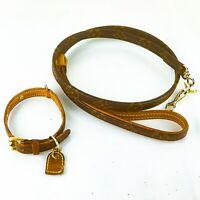 LOUIS VUITTON COLLIER BAXTER PM LEASH BAXTER MM Monogram Dog Collar & Lead JUNK