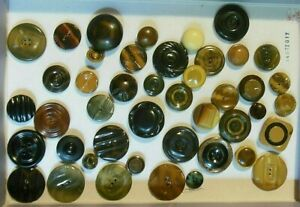"""Lot of 44 Antique Vintage Celluloid Tight Top Buttons -  5/8"""" inch -1 1/2"""" inch"""