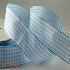 Quality Cut Lengths Gingham Woven Edge Check Ribbon 10mm 25mm Crafts