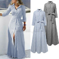 Womens 3/4 Sleeve Belted Striped Shirt Dress Slim Belt A-Line Flare Maxi Dresses