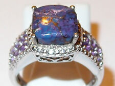 Purple Turquoise ring with Amethyst and White Topaz, in platinum bond, Size N.