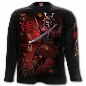 Spiral Samurai Men's Black Longsleeve Dragon T-shirt - Gothic,Goth