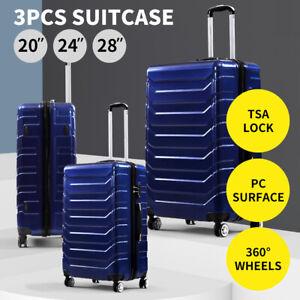 Suitcase Luggage Set 3 Piece Sets Travel Organizer Hard Cover Packing Lock Navy