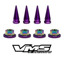 4 VMS RACING STRUT TOWER SPIKES + PURPLE WASHERS & NEO CHROME NUTS FOR HONDA