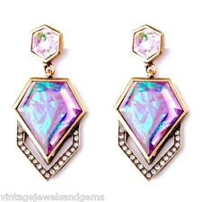IRIDESCENT PINK AURORA BOREALIS Crystal Rhinestone Gold Chandelier Drop Earrings