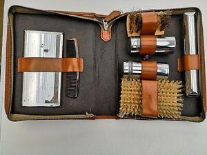 Brown Vintage Mens Vanity Travel Toiletry Grooming Kit Leather Case Brush Mirror