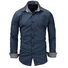 New Luxury Striped Cotton Men's Navy blue Casual Long Sleeve Dress Shirts XT409