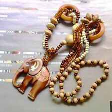 Jewelry Gift Handmade Wood Bead Sweater Chain Long Necklace Elephant Pendant