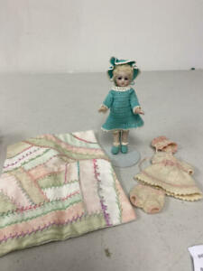 """4"""" ARTIST BISQUE MIGNONETTE DOLL IN BEAUTIFUL AQUA KNIT OUTFIT + EXTRA OUTFIT"""