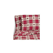 NEW Member's Mark 100% Cotton Flannel Sheet Queen Red Design FREE FAST SHIPPING