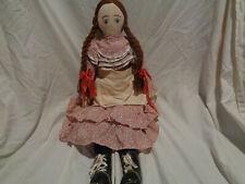 """Antique 30"""" Cloth Doll Original Well Made"""