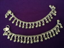 """Child silver chain bells 2 anklet set ankle bracelet Indian foot gift jewelry 7"""""""