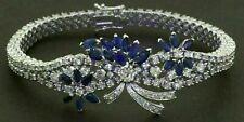 15 Ct Marquise Sapphire & Diamond Women's Bangle Bracelet 14K White Gold Finish