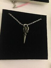 "Scissors R64 Emblem Silver Platinum Plated Necklace 18"""