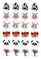 24 JUNGLE ANIMAL HEADS WAFER RICE PAPER EDIBLE FAIRY/CUPCAKE TOPPERS