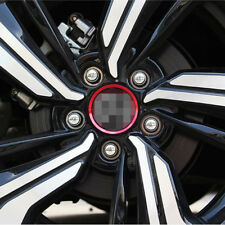 For 2016-up Honda Civic 4pc Red Wheel Center Hub Trim Edge Cover Decorative Ring