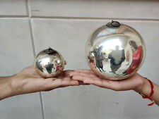 """Antique Kugel 5"""" & 2.5"""" Pair Silver Colour Round Christmas Ornaments Germany"""