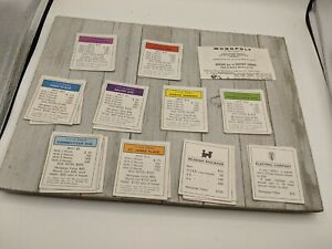 Vintage 1961 Monopoly Property Replacement Cards Complete 28 Cards Rules
