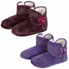 Ladies Women Faux Fur Memory Foam Slipper Boots Ribbon Textile Soul Indoor