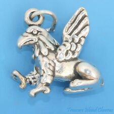 GRIFFIN LION BODY WITH EAGLE HEAD AND WINGS 3D .925 Solid Sterling Silver Charm