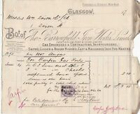Bo.t of The Barrowfield Iron Works Limited Glasgow 1895 Stamp Invoice Ref 41020