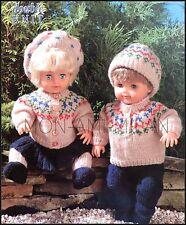 Knitting Pattern Dolls Clothes • Fair Isle Cardigan Sweater Beret Trousers Skirt