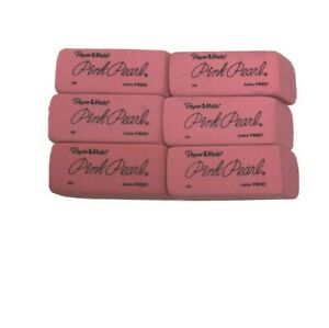 6 Papermate Pink Pearl Erasers- Premium Rubber Eraser Size Large 6 Pcs NEW