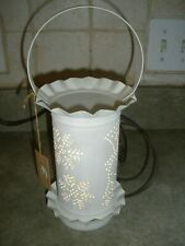 NEW Colonial Tin SNOWMAN SNOWFLAKES Punched Tin TART WARMER with LIGHT