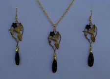 BEAUTIFUL HUMMINGBIRD PENDANT EARRINGS SET BLACK ACRYLIC DROP GOLD PLATED HB