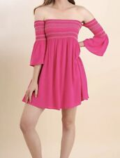 New BLU HEAVEN Dress Women's SMALL Off Shoulder Smocked Pink Babydoll Boutique S
