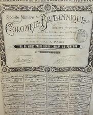 New listing Antique Societe Miniere de la Colombie Britannique British Columbia Share Stock