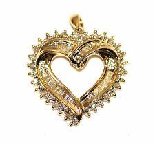 10k yellow gold round diamond heart pendant charm SI2 H .18ct 2.0g ladies estate