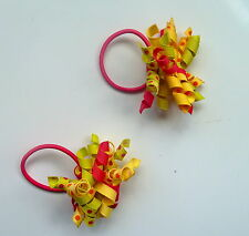 Gymboree Girls Hair Bobble/Hair Tie x 2 - Yellow, Green and Pink, Brand New