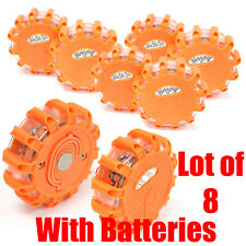 Lot 8 LED Safety Flare Emergency Warning Disc Light Roadside Beacon w/ Batteries