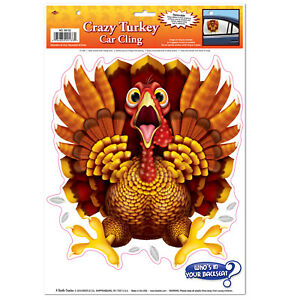 Funny CRAZY WILD TURKEY CAR CLING Backseat Window Decal Thanksgiving Decoration