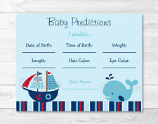 Nautical Pirate Whale Baby Shower Baby Predictions Game Cards Printable