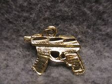 "NEW Gun Hip Hop Gangster Bling Pendant Charm Gold Tone w/Etched Accents 1"" X .5"""