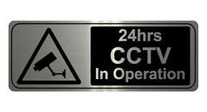 748 24hrs CCTV In Operation Safety Metal Aluminium Plaque Sign Wall House Office