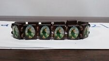 Brown Wooden St. Saint Jude Stretch Prayer Bracelet Wood Beads