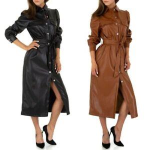 Vestito lungo donna in ecopelle abito da donna manica lunga scamiciato dress