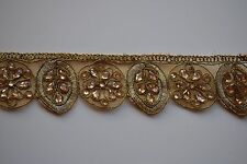 ATTRACTIVE ETHNIC INDIAN CUTWORK LACE TRIM WITH CRYSTALS FLORAL PATTERN- 1 METRE