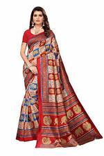 Red Saree Elephant Printed Mysore Silk Fabric Indian Sari Dress Crafts Sari Wrap