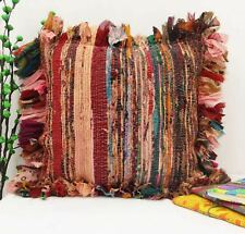 "16X16"" HANDMADE RUG RAG VINTAGE INDIAN MULTI PILLOW CHINDI CUSHION COTTON COVER"