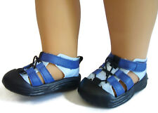 "For 18"" American Girl Boy Logan Doll Clothes Blue Hiking Water Sandals Shoes"