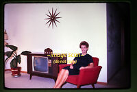 1967 Woman in Retro Living Room with Television tv, Original Slide a28a