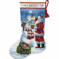 """Counted Cross Stitch CHRISTMAS Stocking KIT Holiday GLOW Dimensions 16"""""""