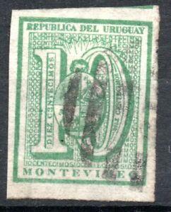 URUGUAY, 10 CENTESIMOS SIN DENTAR 1866