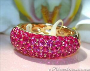 Grandiose Farbenpracht: Exquisiter Rubin Pavé Ring | 3,55 ct. | Gelbgold 585