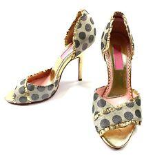 Betsey Johnson Women's Hi Heel Open Toe Pumps Polka Dot Gold Leather 7.5 NEW